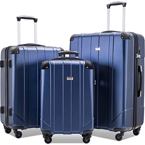Merax 3 Pcs Luggage Set with Built-in TSA and Reinforced Corners, Eco-friendly P.E.T Light Weight Spinner Suitcase Set (Blue2)