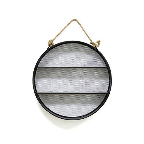 AJZGF Regal City Trend Metall Runde Rahmen & Rahmen Design 3 Schichten dänische kreative Runde Ornament schwarz 55x55x10cm Regal