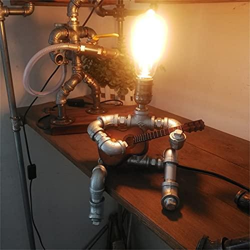 JKKJ Lámparas de robot industriales, estilo retro, lámpara de mesa de guitarrista fresca y linda – Tubo de agua para oficina, dormitorio, sala de estar adornos