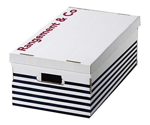 Compactor Bleu Rangement & CIE Ran5374Marinière-Juego de 3Cajas de cartón Ondulado, Blanco/Azul, 52x 29x 20cm, cartón, Applicable