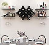 Black Wall Mounted Wine Rack Set,Organizer Wine Cabinet with Storage Shelves and Glass Holder,Multifunctional Wood Storage Shelf Modern Diamond-Shaped,Bar Wine Wall Decor Bottles Wine Display Rack