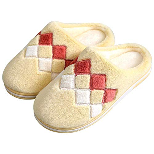 BLMDX Acogedoras Pantuflas de Espuma viscoelástica Fuzzy Wool-Like, par de Pantuflas de algodón otoño/Invierno, Pantuflas para el hogar, Pantuflas de Moda de Suela Gruesa para Hombres-Yellow_9-9