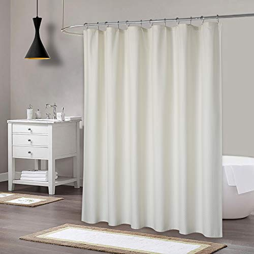 Extra Long Shower Curtain, Soft Microfiber Fabric Shower Curtain for Bathroom, Decorative Embossed Pattern, Water Repellent, Cream
