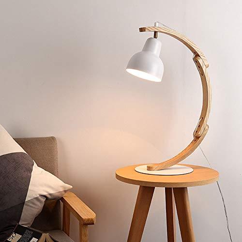 Lámpara de mesa Tyxl Madera Sencilla Lámpara De Pie Literaria Creativa Ojo LED Lámpara Del Dormitorio De La Lámpara De Mesa De Noche De Madera Lámpara De Pie Los 36CM * 49.5cm