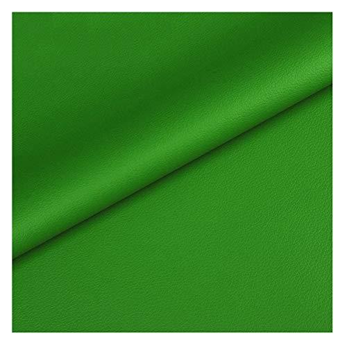 NIANTONG Tela de Vinilo de Polipiel Verde por Metros 140x100cm Material de Tapicería con Patrón de Litchi Impermeable para Manualidades, Autos, Fundas de Asientos(Color:19)