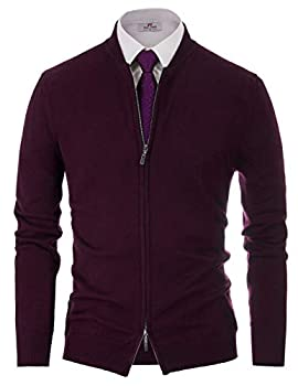 Mens Full Zip Cardigan Sweaters Relaxed Fit Stand Collar Cardigans Dark Purple 2XL