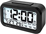 PEAKFINITY® Creative Smart Nightlight Alarm Clock Bedside Desk Table Electronic Clock Battery Operated Mute Luminous Alarm Clock with Adjustable Light (Black)