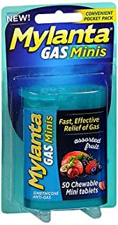 Mylanta Gas Minis Chewable Tablets Assorted Fruit - 50 ct, Pack of 4