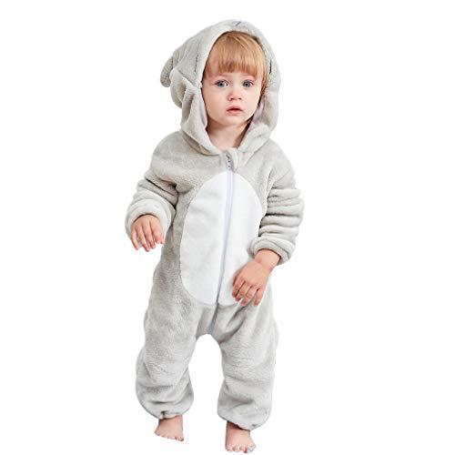 MICHLEY Baby Spielanzug Schlafanzug Flanell Frühling Strampler Pyjama kostüm Bekleidung Karikatur Tier Jumpsuit für mädchen und Junge(Grau 80)