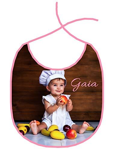 AL PRODUCTION Bavetta Bavaglino personalizzato Con Foto e Nome (Rosa)