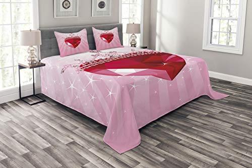ABAKUHAUS Königin Tagesdecke Set, Rote Herz-Kronen-Mädchen, Set mit Kissenbezügen Waschbar, für Doppelbetten 220 x 220 cm, Pink Rot
