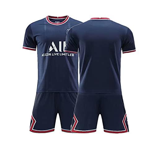 HRZHYHB Sudadera de Jersey de visitante de Paris para niños Adulto 7# Mbappé 10# Traje de Entrenamiento de Jersey de niño Adulto Neymar Camiseta de Manga Corta Shorts