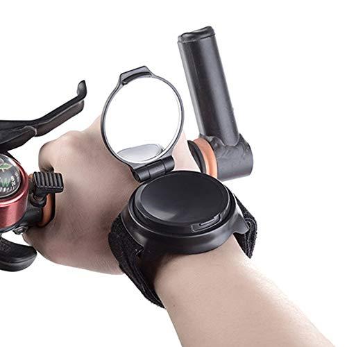 Dongbin Fahrrad-Spiegel Spiegel, Weitwinkel-Objektiv 360 Grad, leicht zu tragen Armbänder, Verstellbarer und revolvierende,Schwarz,B