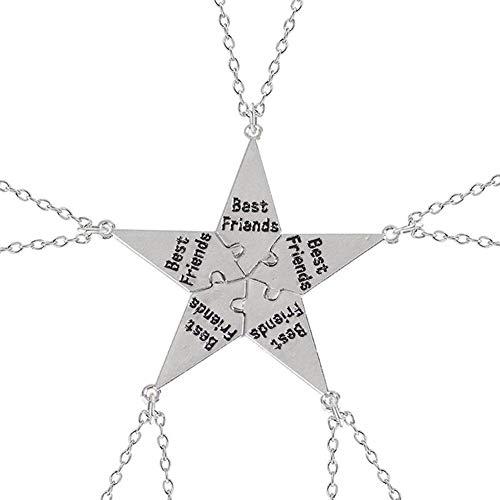 XCSM 5 Piezas Best Friends Necklace Forever Friendship Matching Relationship Puzzle Collares BBF Jigsaw Colgante Cadena Joyería Regalo para Mujeres Hermanas