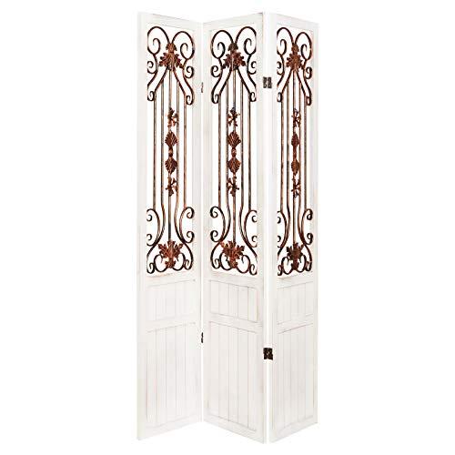 Hartleys 3-teiliger Raumteiler Rustikal/Vintage, Weiß-Bronze