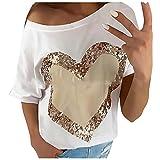 Bilbull Camiseta de manga corta para mujer, monocolor, cuello redondo, con lentejuelas, para verano, cuello redondo, color liso, Blanco, L