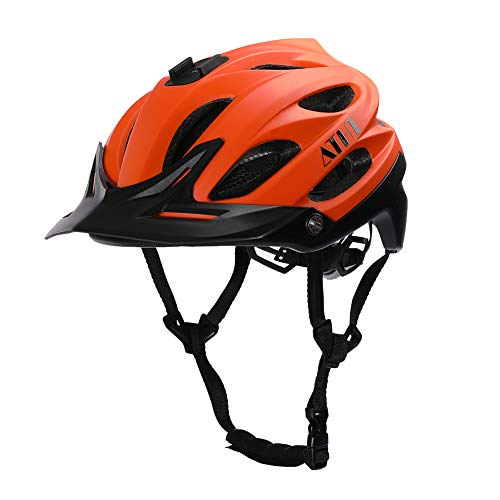 Atphfety Mountain Bike Helmet,MTB Road Bicycle Cycling Helmets with Camera Mount for Adult Men/Women (Orange)