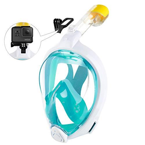ORSEN Tauchmaske Vollgesichtsmaske für Erwachsene & Kinder, Faltbare Schnorchelmaske Vollmaske mit 180° Sicht und Action Kamera-Halterung, Müheloses Atmen,S/M,White Green2