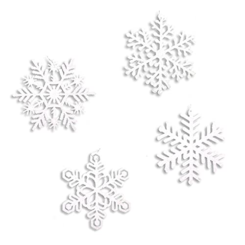 Santas Studio Assorted White Glitter Snowflake Christmas Tree Ornament Decorations - 4 Inch Holiday Ornaments -Set of 24