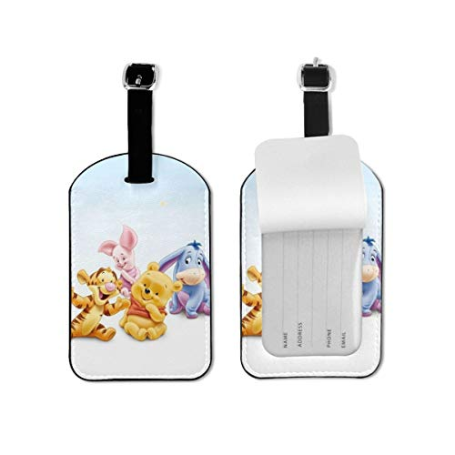 Cartoon Anime Winnie The Pooh Luggage Tags Adjustable Strap Leather Luggages Tag for Baggage Bags/Suitcases - Name ID Labels Set for Travel
