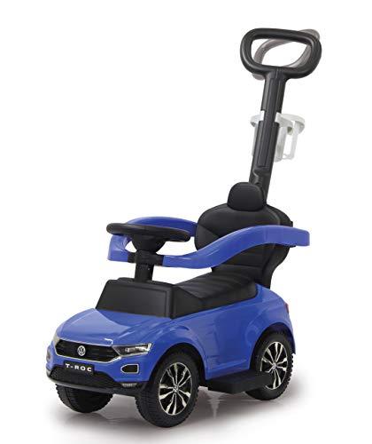 Jamara 460462 Rutscher VW T-ROC 3in1-Kippschutz, Kofferraum, Schub-und Haltestange mit Lenkfunktion, Rückenlehne, seitlichen Schutzbügel, ausziehbare Fußauflage, Sound/Hupe am Lenkrad, blau