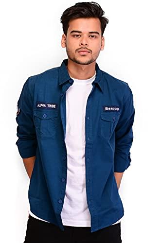 Bespoqe Men's Cotton Regular Fit Full Sleeve Solid Casual Shirt