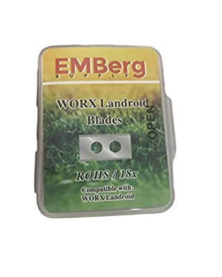 EMBerg Endurance Blades (18 Pack) for Worx Landroid Robotic Mowers (Steel Worx Blade)