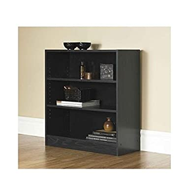Mylex Mainstays 3-Shelf Bookcase | Wide Bookshelf Storage Wood Furniture (Black, 1)