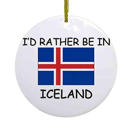 8 NBNWDHI Ceramic Ornaments - Id Rather be in Iceland Ornament (Round) Round Holiday Christmas Ornament| Cute Santa Gift| Xmas Tree Decoration 2.8in