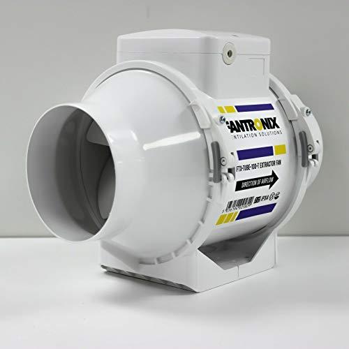 Fantronix FTX-TUBE-125-T Extractor Techo de Ducha Temporizador de 125 mm silencioso en línea para Inodoro con Ventilador, Potente ventilación, Control de Humedad, blanco, 5