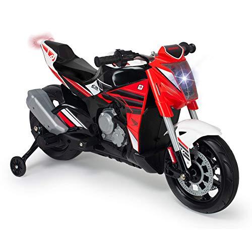 INJUSA - Moto Honda Naked 12V Roja con Puño Acelerador, Luces, Mp3 y Ruedas de Apoyo Recomendada a Niños +3 Años