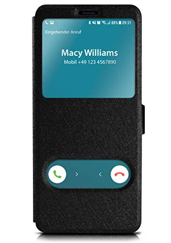 moex Klapphülle in Lederoptik inkl. Sichtfenster kompatibel mit Samsung Galaxy S8 | Integrierte Standfunktion + Magnetverschluss, Schwarz