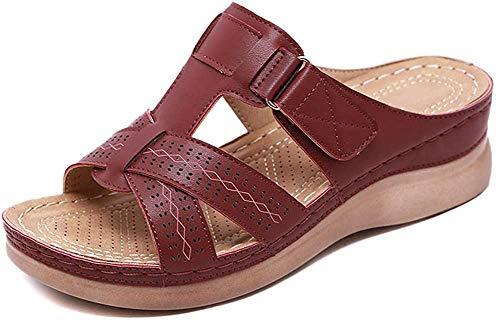 Guajave Damen Premium Orthopädisch Offene Zehen Sandalen Vintage rutschfeste Atmungsaktiv für den Sommer - Dunkelrot, 42 EU
