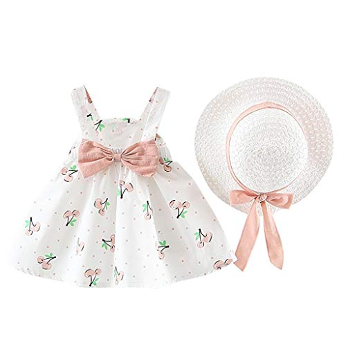 Best Deals! Baby Girls Sleeveless Tutu Princess Skirt + Straw Hat Toddler Kids Flower Bow Hat Outfit...
