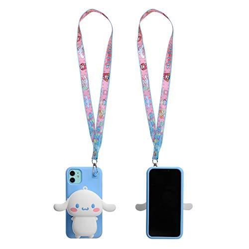 Phenix-Color Cartoon-Schutzhülle für iPhone 11, 15,6 cm, weiches Silikon, mit AirPod-Tasche & Halskette, iPhone 11 Pro Max 6.5