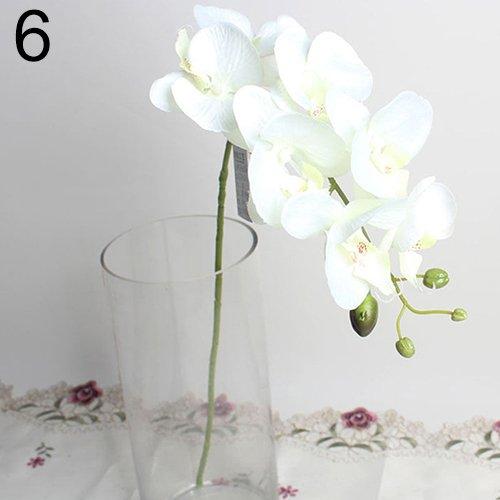 ypypiaol Flor De La Orquídea Flor De Mariposa Artificial 1 Pieza Flor Falsa De La Decoración Del Hogar De La Boda blanco