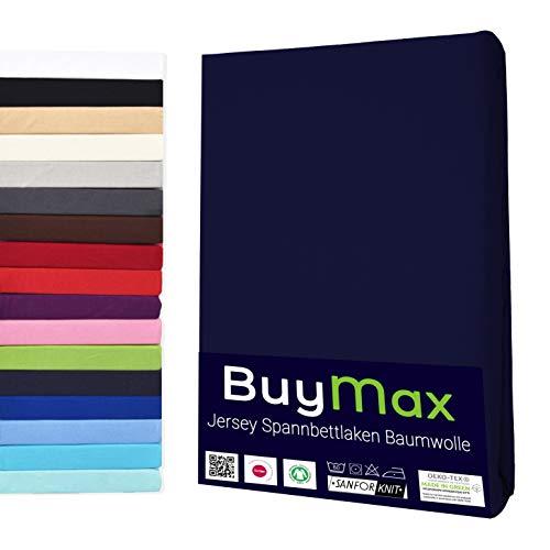Buymax Spannbettlaken Kinderbett 60x120-70x140 cm Spannbetttuch Bettlaken für Beistellbetten Babybett 100% Baumwolle Jersey Matratzenhöhe bis 15 cm, Blau Marineblau