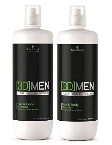2er Schwarzkopf Professional 3D Men Hair & Body Shampoo 1000 ml