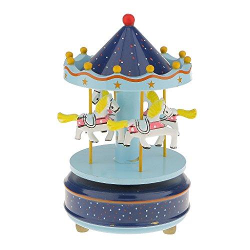 Boîte à Musique Carrousel Manège Bois Rainbow Décoration Cadeau Jouet Musical pr Enfant (10 Styles) - Bleu et Bleu Ciel, L