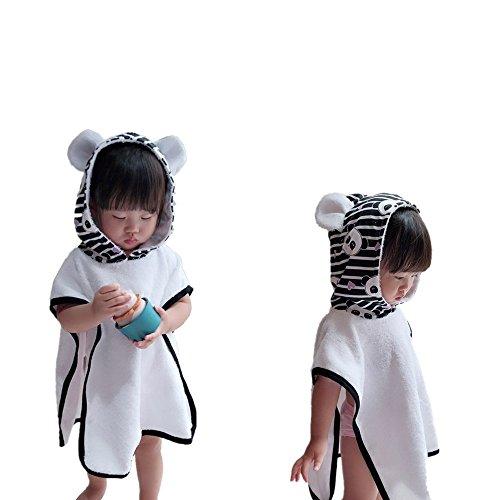 JYSPT Kinder Badetuch Gekappt Dinosaurier Badetuch Gehörnte Form Design 100% Baumwolle Saugfähig Kapuzen-Bademantel (Panda-für Baby 100-110 cm)