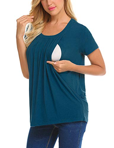 UNibelle Unibelle Damen Umstandsmode Top Stillshirt Schwanger T-Shirt Umstandsshirt Umstandstop Lagendesign Wickeln-Schicht Navy Blau L, Pfaublau