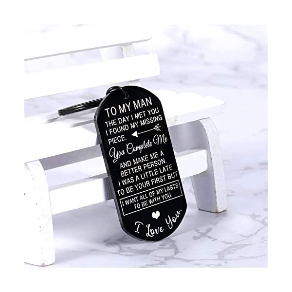 Valentines Day Gifts for Men To My Man Keychain Anniversary for Him Husband Gifts from Wife Birthday Gifts for Boyfriend Groom Fiance Engagement Wedding Present Jewelry Key Ring