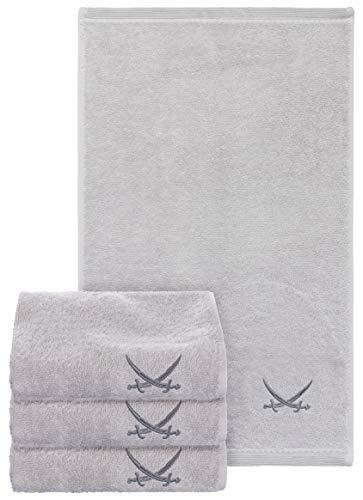 Sansibar Gästehandtuch 4er Set 30x50 cm mit gesticktem Säbel Logo Set Handtuch Seiftuch Silber