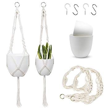 FairyLavie 8.5  +7   Hanging Planter for Indoor Outdoor Plants Plant Hangers with Pots Plastic Planter Included Hanging Planters Basket Holder - 2 Plant Hangers + 2 Plant Pots + 4 Hooks