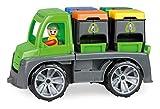 Lena Truxx 04453 - Camión de Basura reciclable (26 cm, con función, 2 Cubos de Basura Dobles y Figura de Juego móvil, para niños a Partir de 2 años), Color Verde