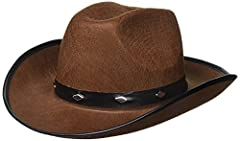 Durable Stylish Studded Brown Cowboy Hat Approx. 21? circumference (inside of hat) Western Hat Made Of Felt With Metal Studs Brown Cowboy Hat Is Made For Adults & Bigger Kids Not Just a Costume Hat But A Cowboy Hat For Real Cowboys