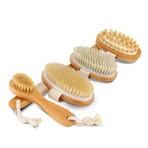 SWEATNESS Bürsten-Set [4-Teilig] mit Trockenbürste, Duschbürste, Massagebürste & Gesichtsbürste mit abnehmbaren Holzgriff zur Hautpflege und gegen Cellulite