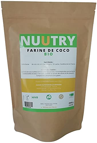 Farine de noix de CoCo 2kg - Riche en fibre et en protéine - Farine sans gluten et pauvre en glucide - pour les régimes Végan, Paleo, Low Carb et Kéto (cetogene) Conditionné en France.