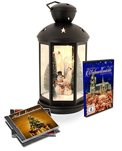 Winter LED Laterne schwarz mit Lichtspiel - Geschenkedition