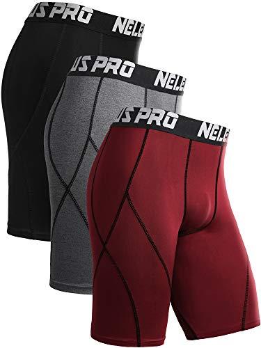 Neleus Men's 3 Pack Sport Running Compression Shorts,6012,Black,Grey,Red,L,EU XL